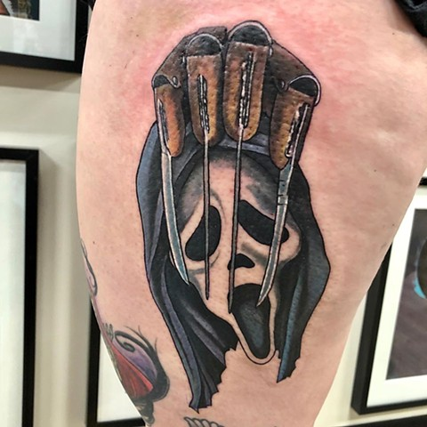 Scream and Nightmare on Elm Street Mashup Tattoo By Chris Labrenz Color Black Gold Tattoo Co