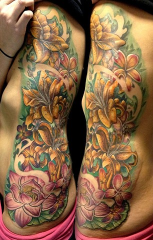 Lilies Tattoo By Josh Lamoureux Color Black Gold Tattoo Co