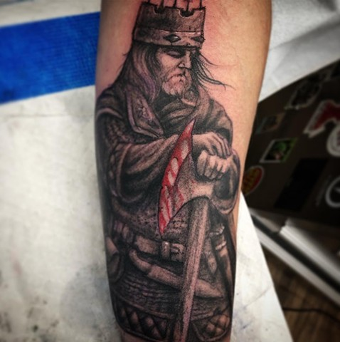Eric Bloodaxe Viking Tattoo By Steve Hayes Black And Grey with Color Black Gold Tattoo Co