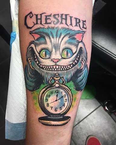 Alice In Wonderland Cheshire Cat Tattoo By Chris Labrenz Color Black Gold Tattoo Co