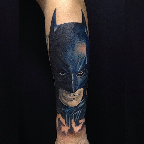 Batman Tattoo By Chad Clothier Color Black Gold Tattoo Co
