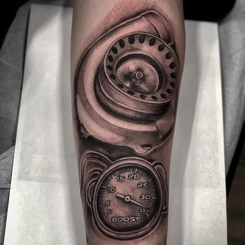 Turbo Boost Gauge Tattoo By Romeo Ostiguy Black And Grey Black Gold Tattoo Co