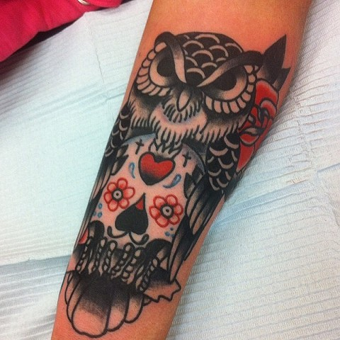 Traditional Owl With Sugar Skull Tattoo By Spencer Evans Black And Grey With Color Black Gold Tattoo Co