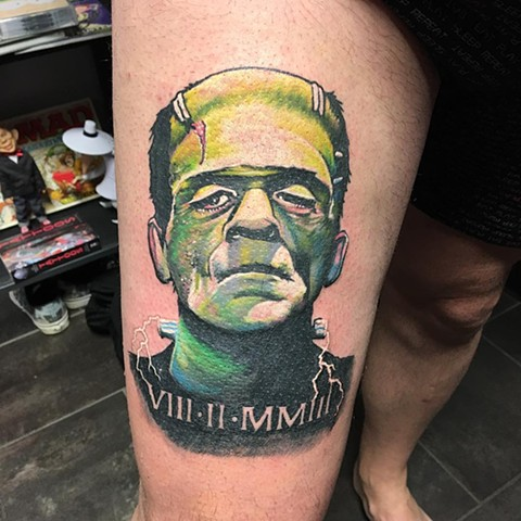 Frankenstein Tattoo By Chris Labrenz Color Black Gold Tattoo Co