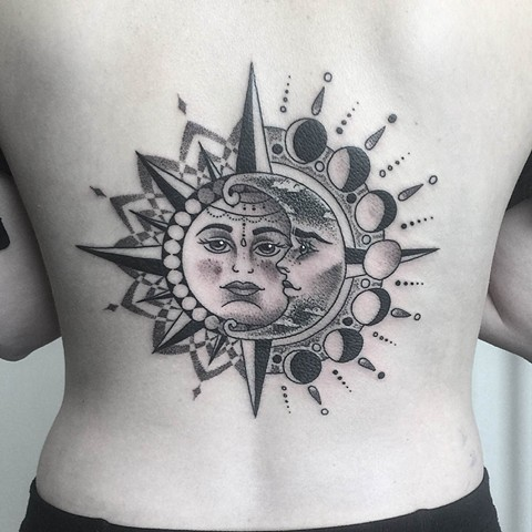 Sun And Moon Tattoo By Chris Benson Black And Grey Black Gold Tattoo Co