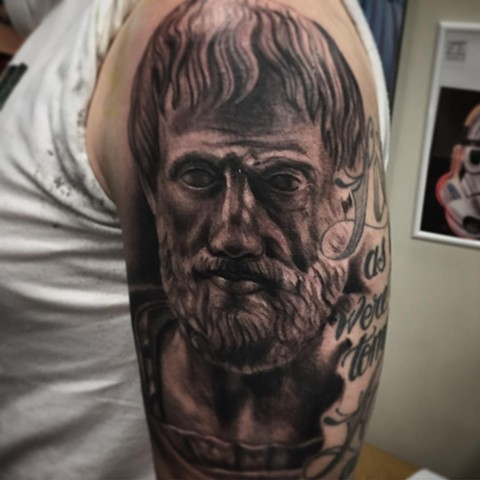 Aristotle Tattoo By Steve Hayes Black And Grey Black Gold Tattoo Co