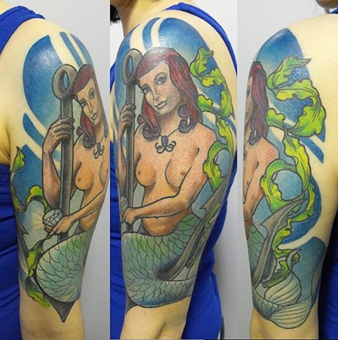 Mermaid Tattoo By Chad Clothier Color Black Gold Tattoo Co