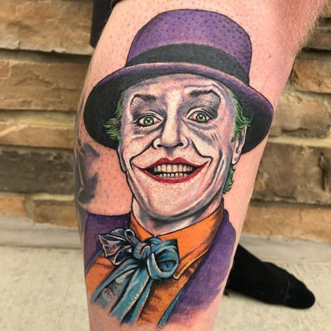 Joker Jack Nicholson Tattoo By Chris Labrenz Color Black Gold Tattoo Co