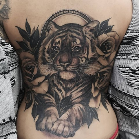 Tiger Tattoo By Sasha Roussel Black And Grey Black Gold Tattoo Co
