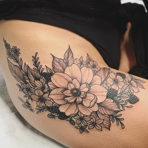 Flowers and Berries Tattoo By Jess Alther Black and Grey Black Gold Tattoo Co