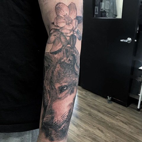 Wolf and Flowers Tattoo By Alan Coates Black And Grey Black Gold Tattoo Co. 2019
