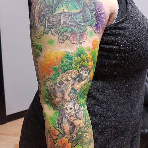 Monkeys And Flowers Tattoo By Kevin Sherritt Color Black Gold Tattoo Co.