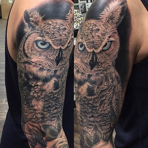Owl Tattoo By Steve Hayes Black And Grey with Color Black Gold Tattoo Co