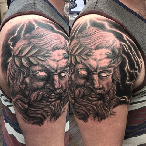 Zeus Tattoo By Steve Hayes Black And Grey Black Gold Tattoo Co