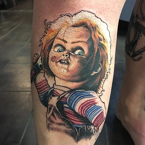 Chucky Tattoo By Chris Labrenz Color Black Gold Tattoo Co