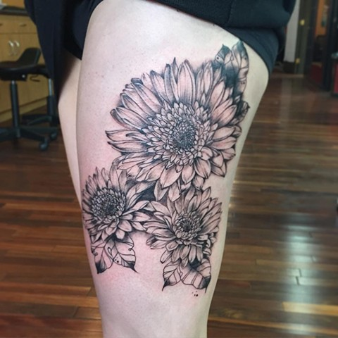 Floral Tattoo By Amber Strange Black and Grey Black Gold Tattoo Co