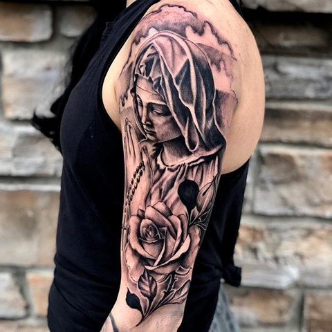 Mary Tattoo By Romeo Ostiguy Black And Grey Black Gold Tattoo Co