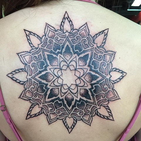 Mandala Tattoo By Amber Strange Pointillism Black Gold Tattoo Co