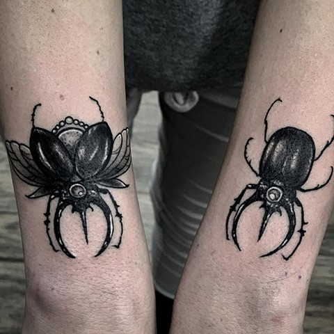 Beetles Tattoo By Romeo Ostiguy Black And Grey Black Gold Tattoo Co 2019