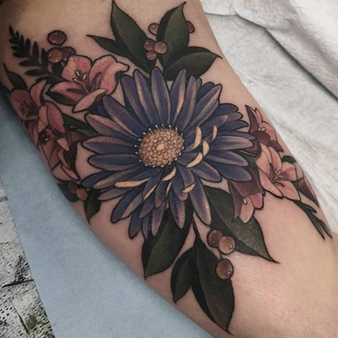 Flowers and Berries Tattoo By Sasha Roussel Color Black Gold Tattoo Co