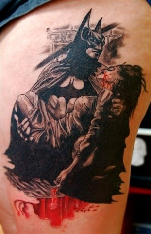 Batman Tattoo By Lee Conklin Black And Grey With Color Black Gold Tattoo Co