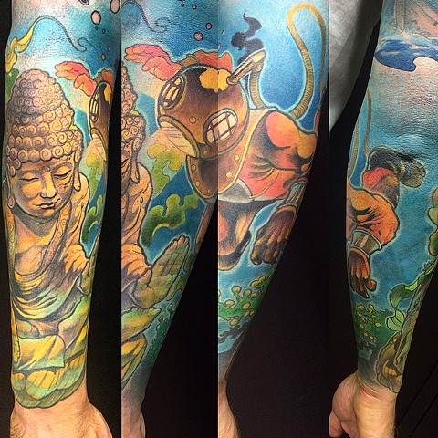 Underwater Buddha With Diver Tattoo By Chad Clothier Color Black Gold Tattoo Co