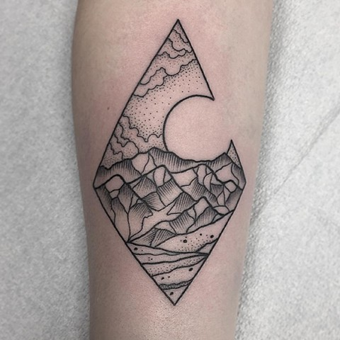 Pointillism Mountain Scene Tattoo By Chris Benson Black And Grey Black Gold Tattoo Co