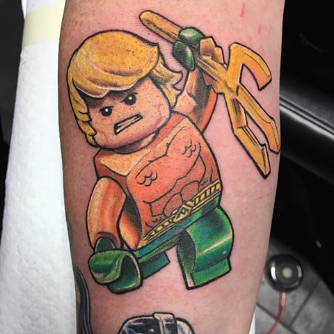 Lego Aquaman Tattoo By Chris Labrenz Color Black Gold Tattoo Co