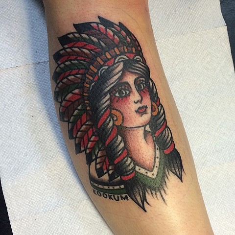 Traditional Woman In Headdress Tattoo By Spencer Evans Color Black Gold Tattoo Co