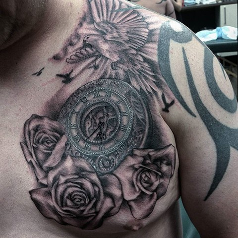 Doves And Roses With Clock Tattoo By Ashley Hoff Black And Grey Black Gold Tattoo Co
