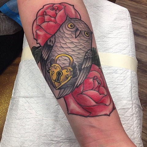 Owl Holding Lock With Roses Tattoo By Chad Clothier Color Black Gold Tattoo Co