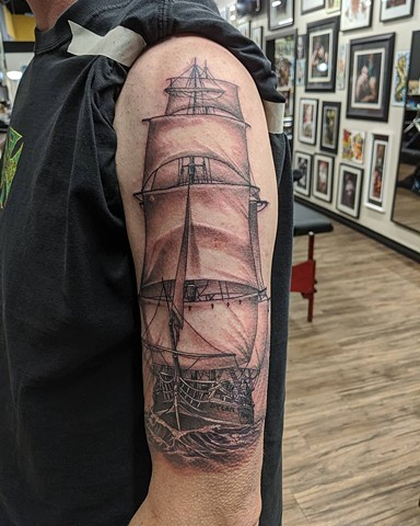 Ship Tattoo By Kevin Sherritt Black and Grey Black Gold Tattoo Co.