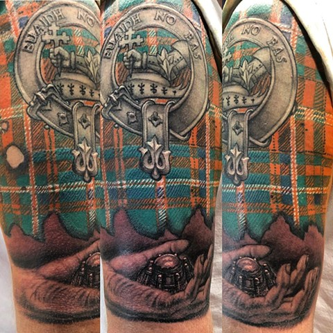 Scottish Tartan Tattoo By Steve Hayes Color Black Gold Tattoo Co
