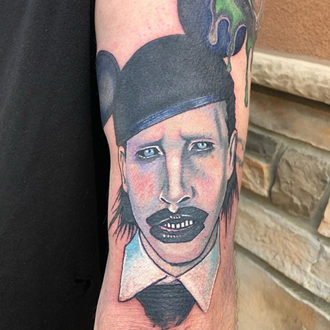 Marilyn Manson Tattoo By Chris Labrenz Color Black Gold Tattoo Co.