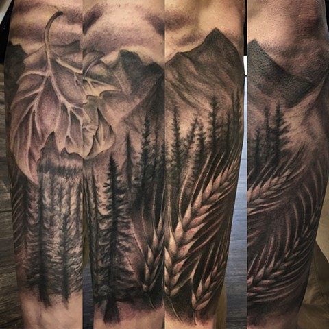Maple Leaf And Wheat On Nature Landscape Tattoo By Steve Hayes Black And Grey Black Gold Tattoo Co