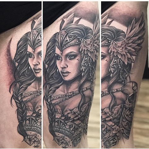 Valkyrie Tattoo By Sarah Michelle Black And Grey Black Gold Tattoo Co.