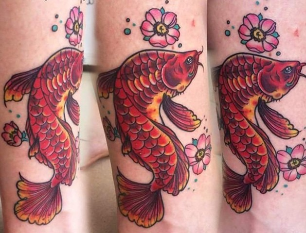 Koi Fish Tattoo By Amber Strange Color Black Gold Tattoo Co