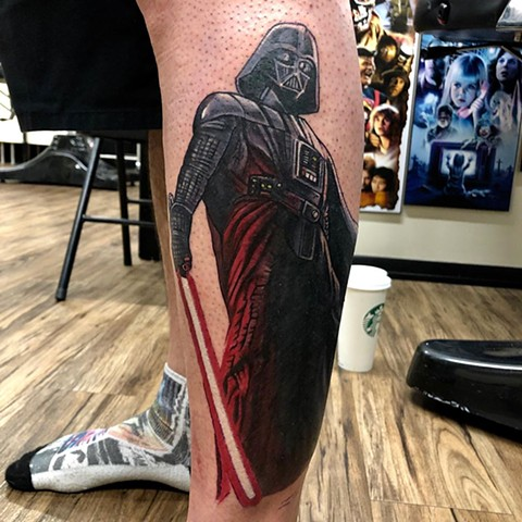 Star Wars Darth Vader Tattoo By Chris Labrenz Color Black Gold Tattoo Co.