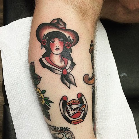 Traditional Girl And Horseshoe With Eagle Tattoo By Spencer Evans Color Black Gold Tattoo Co