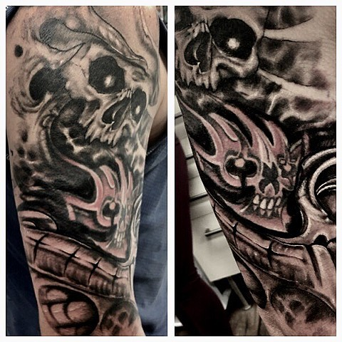Skulls Tattoo By Romeo Ostiguy Black And Grey Black Gold Tattoo Co