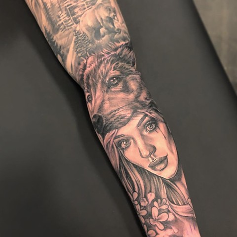 Girl and Wolf Tattoo By Sarah Michelle Black And Grey Black Gold Tattoo Co. 2019