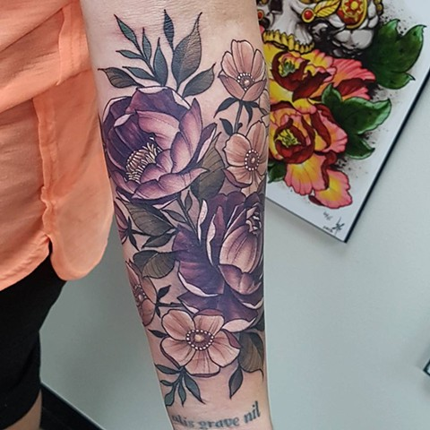 Peonies And Flowers Tattoo By Sasha Roussel Color Black Gold Tattoo Co