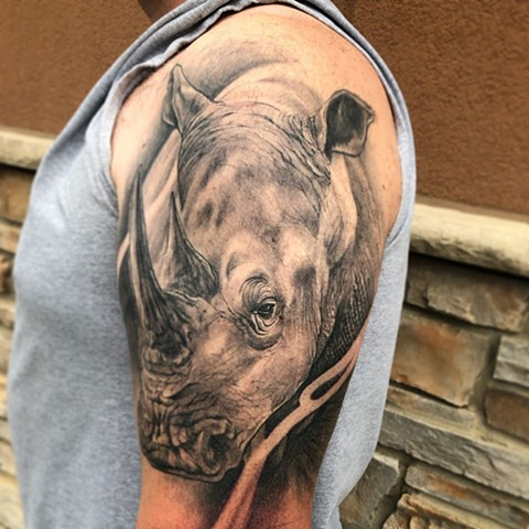 Rhino Tattoo By Sarah Michelle Black And Grey Black Gold Tattoo Co. (Healed)