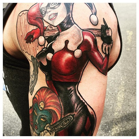 Harley Quinn And Mystique Tattoo By Kyiel Cholik Color Black Gold Tattoo Co