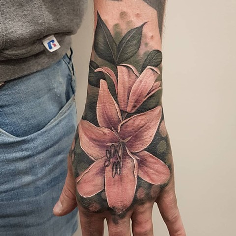Lily Tattoo By Sasha Roussel Color Black Gold Tattoo Co