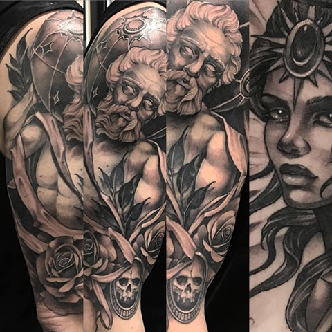 Atlas and Angel Tattoo By Sasha Roussel Black And Grey Black Gold Tattoo Co
