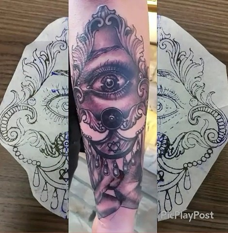 Eye With Jewels Tattoo By Ashley Hoff Black And Grey Black Gold Tattoo Co