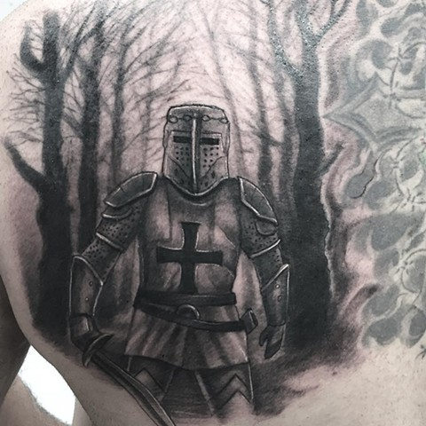 Knight Tattoo By Steve Hayes Black And Grey Black Gold Tattoo Co