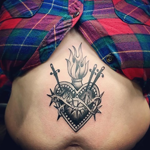 Sacred Heart Tattoo By Jess Alther Black and Grey Black Gold Tattoo Co