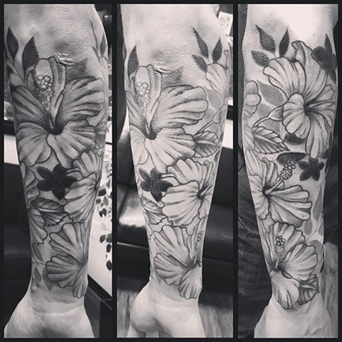 Floral Tattoo By Jess Alther Black And Grey Black Gold Tattoo Co